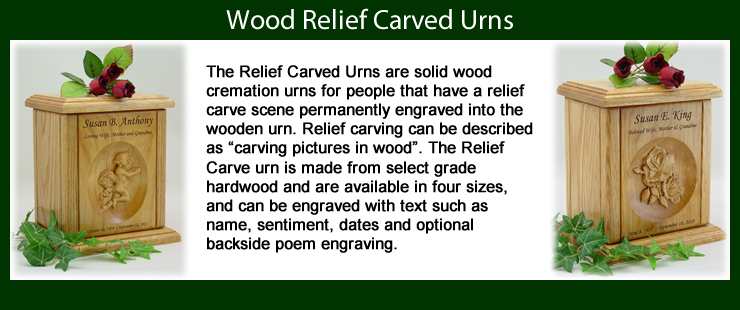 Wood Relief Carved Urns