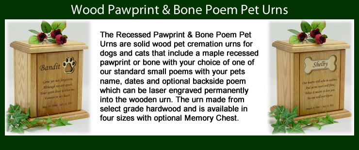 Pawprint & Bone Poem Pet Urns