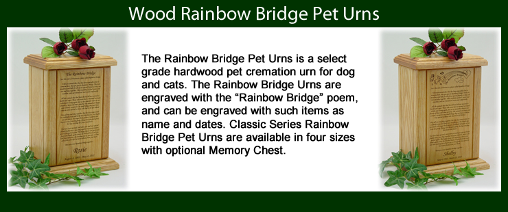Rainbow Bridge Pet Urns