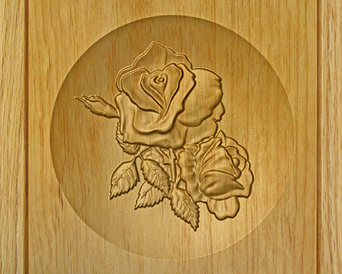 Wood cremation urns relief carved